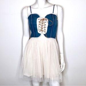 Anthropologie denim tulle cream lace up dress